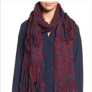 NEW BCBGeneration Mixed Fringe Scarf Blue Maroon